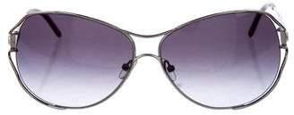 Judith Leiber Crystal-Embellished Aviator Sunglasses