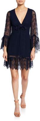 Max Studio Embroidered Lace Scallop Dress