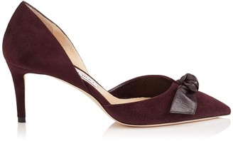 Jimmy Choo TWINKLE 65 Burgundy Suede and Kid Leather Pointy Toe Pumps