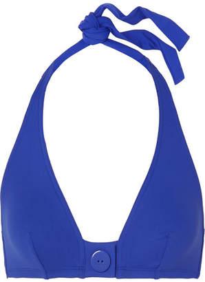 Eres Pop Roller Button-detailed Triangle Bikini Top - Bright blue