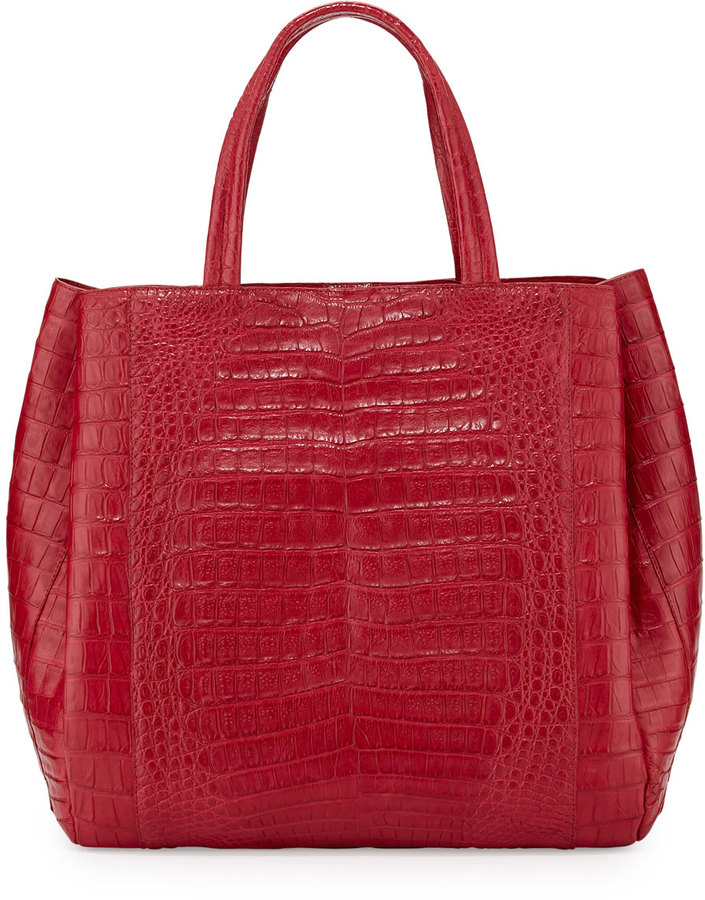 Nancy Gonzalez Crocodile Medium Tote Bag, Red