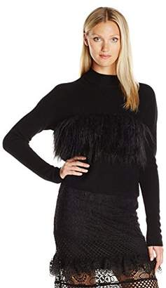 KENDALL + KYLIE Women's Faux Fur Contrast Sweater