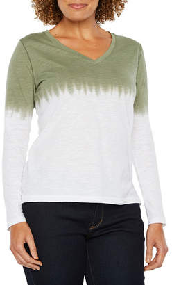 A.N.A Long Sleeve V Neck T-Shirt-Womens Petite