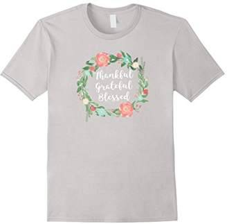 Thankful Grateful Blessed tshirt - Floral flower Ring Circle