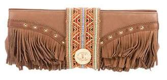 Just Cavalli Leather Fringe-Trimmed Clutch