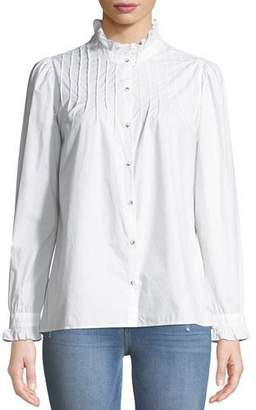 MiH Jeans Danvers Pintuck High-Neck Cotton Blouse