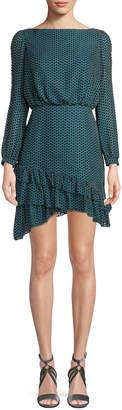 Saloni Felicia Geo-Print Ruffle Long-Sleeve Mini Dress