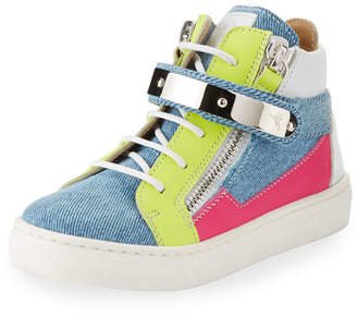 Giuseppe Zanotti Ares Denim Patchwork Sneakers, Toddler/Youth Sizes 10T-2Y