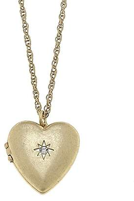 Canvas Womens Long Heart Pendant Locket Necklace