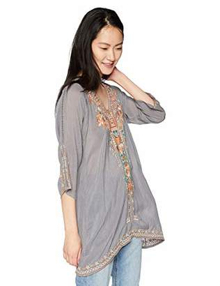 Johnny Was Women's 3/4 Sleeve Eyelet Embroidered Tunic