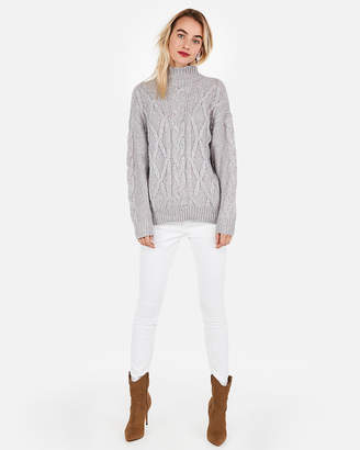 Express Cable Knit Mock Neck Oversized Tunic Sweater