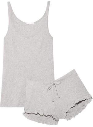 Skin - Ruffled Ribbed Pima Cotton-jersey Pajama Set - Stone
