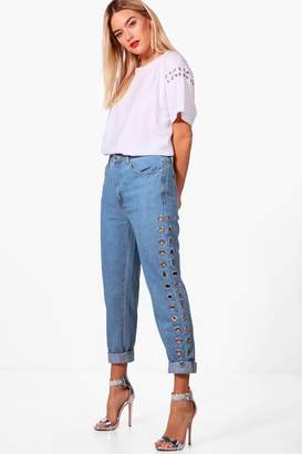 boohoo High Waist Eyelet Mom Jeans
