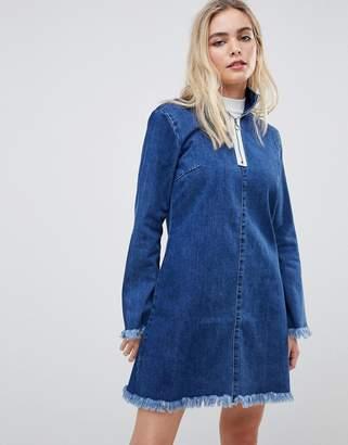 Glamorous denim shift dress with frayed hem and zip detail