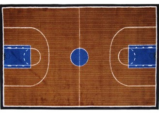Fun Rugs Hand Carved Extra High Pile Basketball Court Sports Kids Rugs