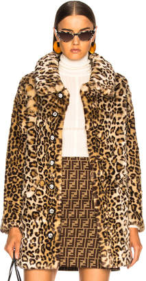 Shrimps Faux Fur Paddy Coat in Sand Leopard | FWRD