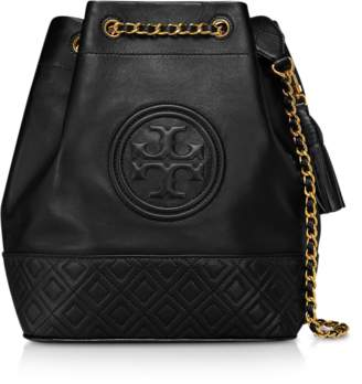 Tory Burch Black Leather Fleming Bucket Bag