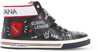 Dolce & Gabbana Graffiti Print Leather High Top Sneakers