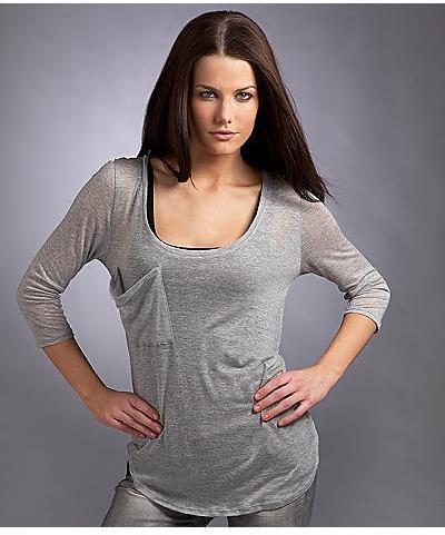 Three Dots Sheer Melange 3¾4 Sleeve Scoop Neck T-Shirt