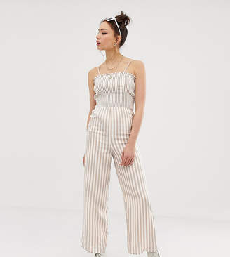 14e47c354be Glamorous Tall cami jumpsuit with shirring in natural stripe