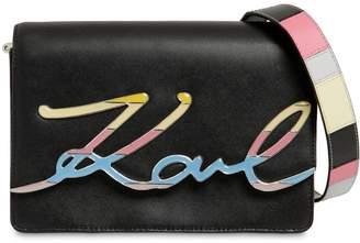 Karl Lagerfeld K/Metal Signature Leather Shoulder Bag