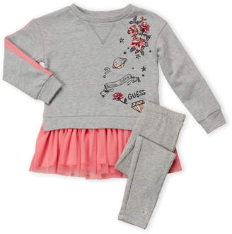GUESS Girls 4-6x) Two-Piece Mix Media Sweatshirt & Leggings Set