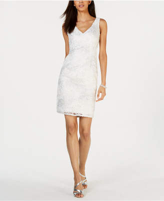 Adrianna Papell Petite Metallic-Embroidered Sheath