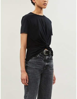 AG Jeans Neil knotted cotton-blend jersey T-shirt