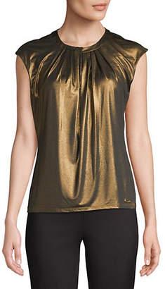 Calvin Klein Sleeveless Pleat Neck Metallic Top