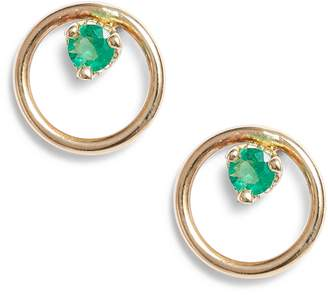 Chicco Zoe Single Emerald Open Circle Stud Earrings