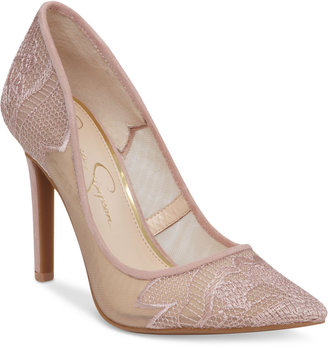 Jessica Simpson Camba Lace Pointed-Toe Pumps Women's Shoes $89 thestylecure.com