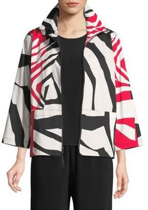 Caroline Rose Wild Card Ruched-Collar Zip-Front Jacket , Plus Size