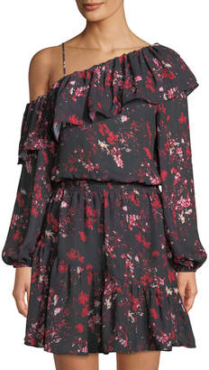 Parker Asymmetric-Sleeve Floral-Print Dress