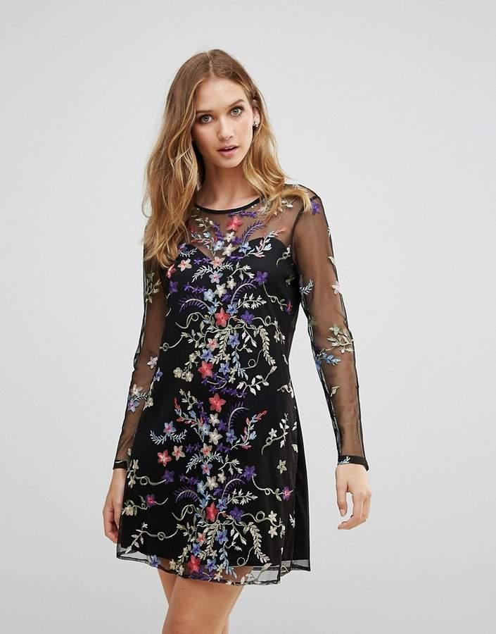 RD & Koko Rd & Koko Long Sleeve Mesh Overlay Dress With Floral Embroidery