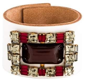 Marni Resin & Crystal Embellished Leather Cuff