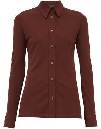 Joseph Button Down Crepe Jersey Shirt - Womens - Burgundy