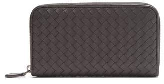 Bottega Veneta Intrecciato Zip Around Leather Wallet - Womens - Black