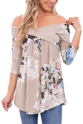 Flank Women's Off Shoulder Flower Print Long Sleeve Loose Casual Blouse Tops (XXXL, )