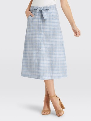 Draper James Linen Button Front Skirt