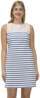 Izod Women's Eyelet Striped Shift Dress