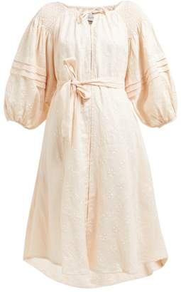 Innika Choo Shirred Polka Dot Linen Midi Dress - Womens - Pink