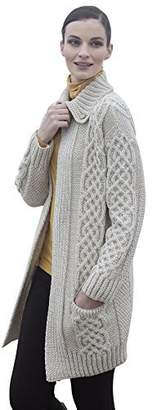 Carraigdonn Carraig Donn Ladies Plaited Coat Merino Wool Cardigan