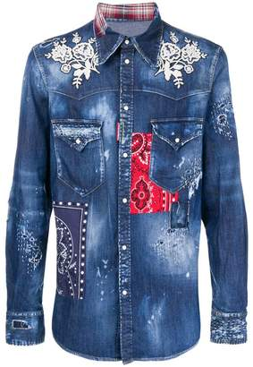 DSQUARED2 patchwork denim shirt