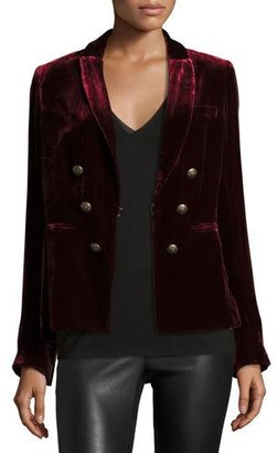 Veronica Beard Velvet Faux-Double-Breasted Blazer, Wine $595 thestylecure.com