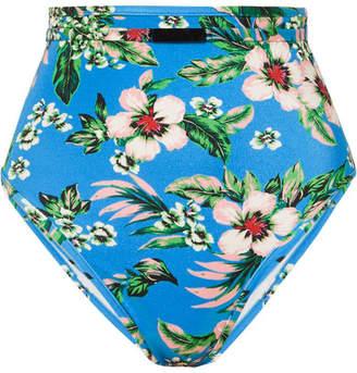 Diane von Furstenberg Floral-print High-waisted Bikini Brief - Blue