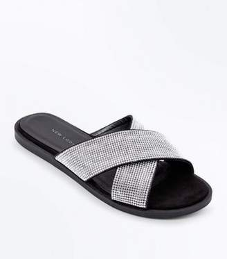 New Look Wide Fit Black Diamanté Cross Strap Sliders