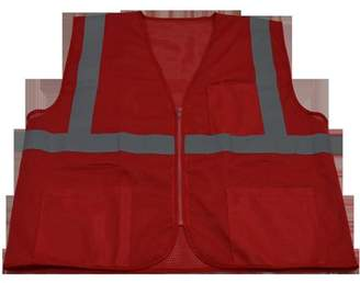 Petra Roc RVM-S1-L-XL 2 in. Red Mesh Vest Reflective Tape 3 Pockets Zipper Front, Large & Extra Large
