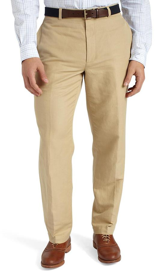 Hudson Plain-Front Linen and Cotton Chinos