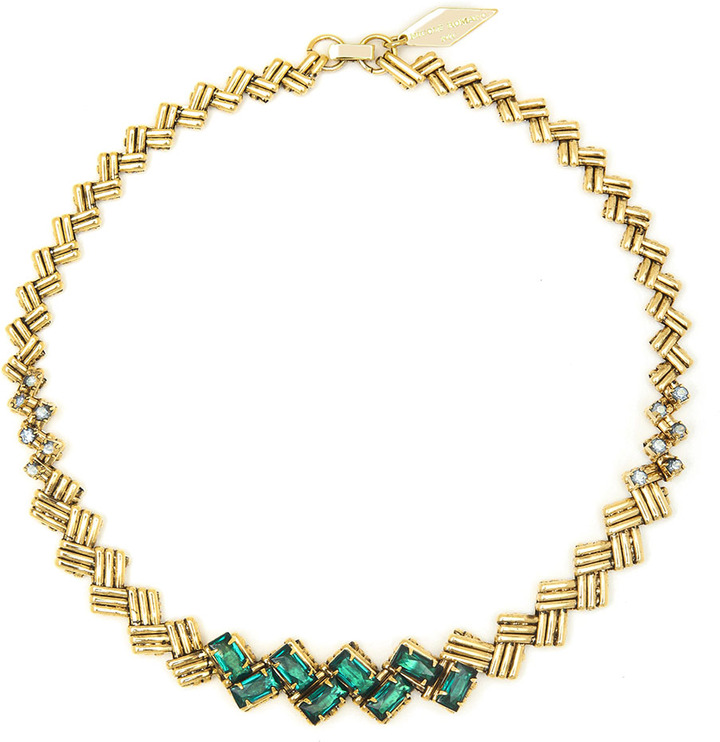 Nicole Miller Criss Cross Emerald Necklace