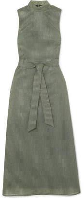 Cefinn - Belted Metallic Striped Cotton-blend Voile Dress - Green